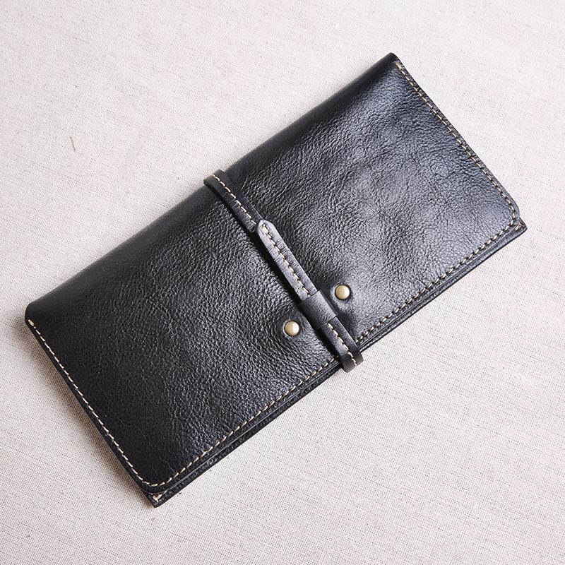 手工真皮钱包男长款超薄搭扣休闲头层牛皮女士皮夹子复古青年钱夹