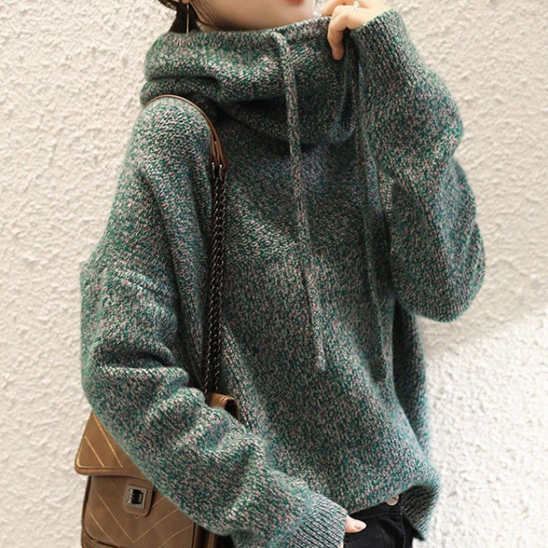 Autumn and winter new hooded pile high tie hat sweater womens Hoodie short sweater