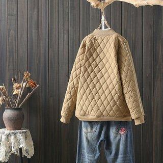 大码菱形薄款小棉服短款棒球服韩版气质百搭职场保暖棉衣外套女