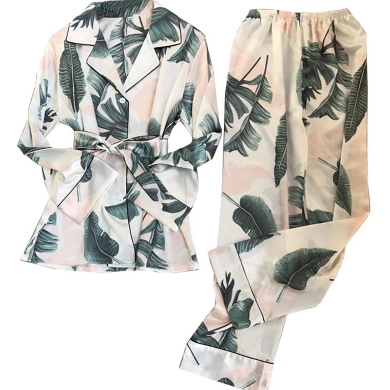 冰丝睡衣女长袖两件套装韩版