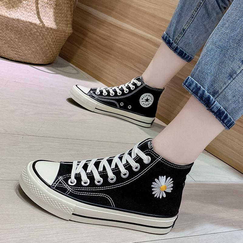 GD同款小雏菊高帮新款帆布鞋女1970s联名韩版小白鞋百搭刺绣板鞋图片