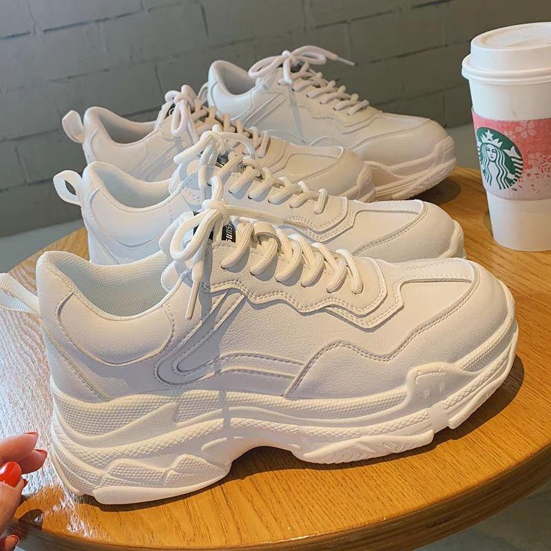 小白鞋女新款秋冬季百搭学生韩版运动鞋厚底冬款加绒ins老爹鞋子图片