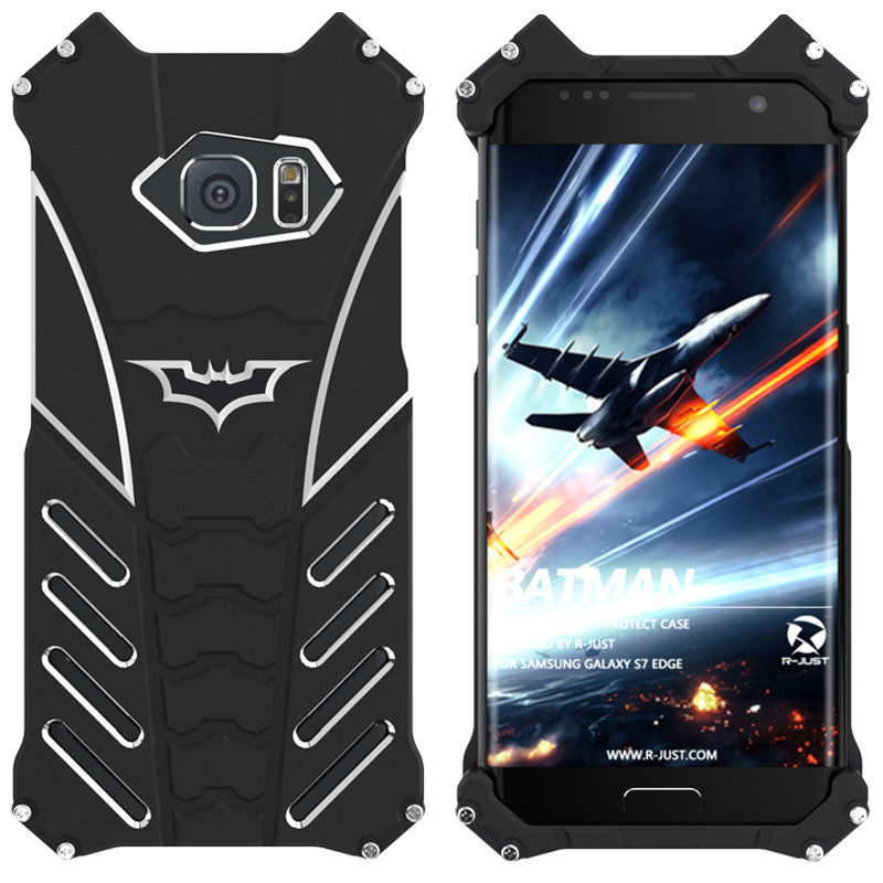 R-Just Batman Shockproof Aluminum Shell Metal Case with Custom Stent for Samsung Galaxy S7 Edge G9350