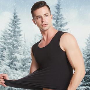 男士保暖无痕V领背心加绒加厚冬季青年紧身无袖棉坎肩贴身打底衫