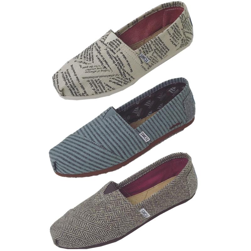 TOMS帆布鞋女鞋字母条纹帆布鞋休闲鞋一脚蹬套脚懒人鞋女鞋