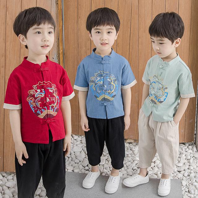 夏季薄款汉服男童儿童古装宝宝周岁礼服唐装小男孩中国风童装套装