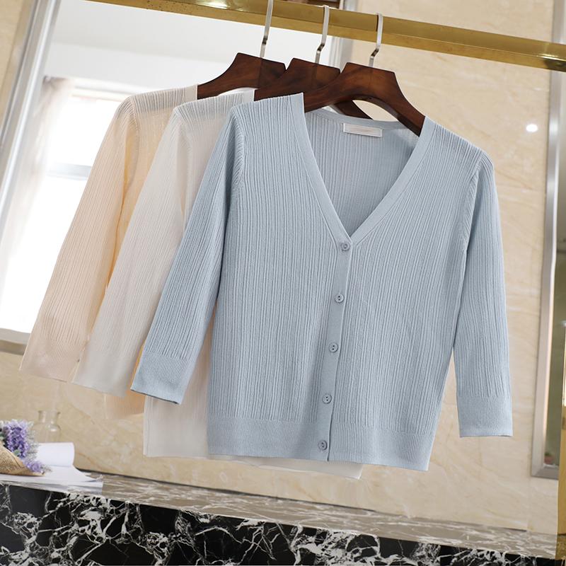 冰丝防晒开衫女夏薄短款外套镂空空调衫超薄针织衫外搭夏天小披肩