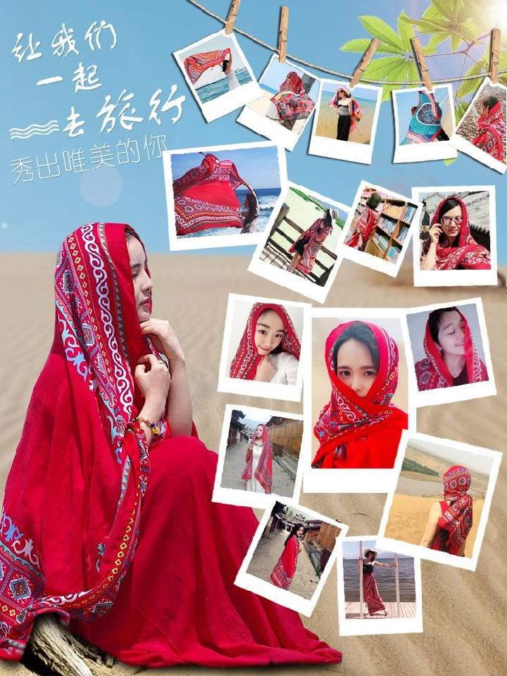 Artistic long scarf large size shoulder soft spring versatile sand towel beach neck cape with shoulder small shawl