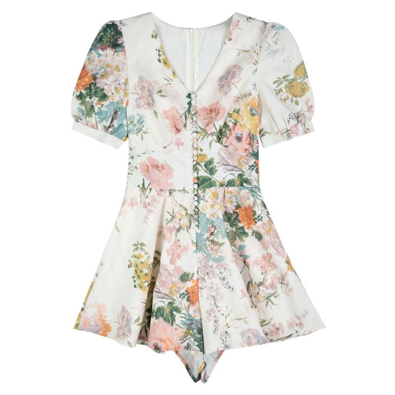 Very fairy Jumpsuit girl 2020 ruffled floral High Waist Wide Leg Jumpsuit new Korean shorts dress pants