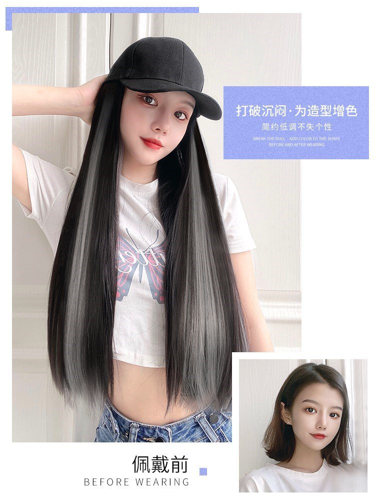 Hat with wig one female autumn and winter fashion women wear wig with long straight hair cap