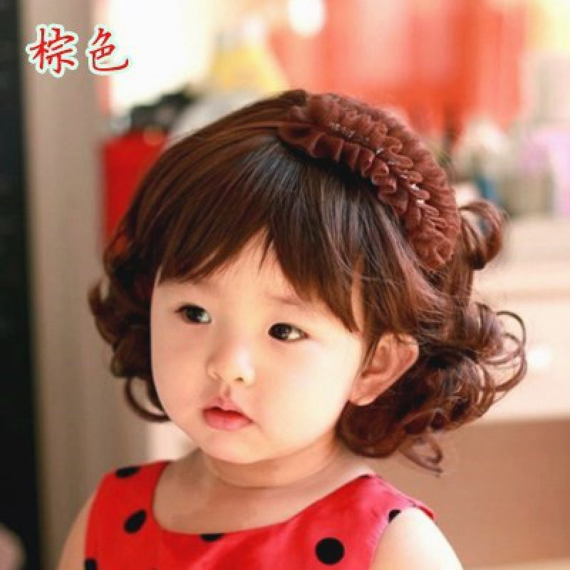 |Female baby hair belt new Korean version baby and Child Wig with hair cover photography props 1-2-3-4 years old