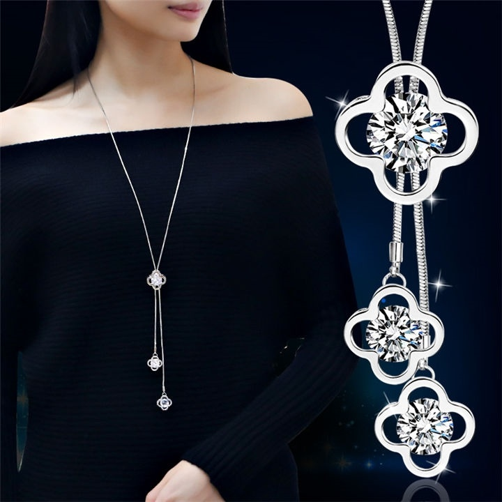 Neckline fashion Japanese and Korean simple long necklaces versatile tassel exquisite decorative sweater chain pendant spring and autumn women