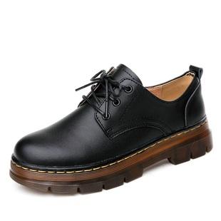 春秋粗跟單鞋厚底小皮鞋女真皮馬丁鞋英倫女鞋學院風復古牛筋底潮
