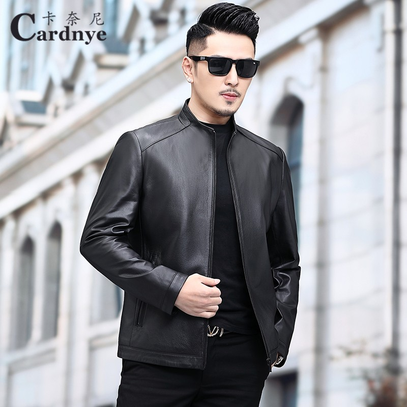 Scooter calf leather jacket mens head leather leather jacket mens stand collar handsome slim thin Korean jacket