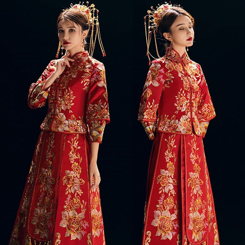 Xiuhe bride 2019 New Wedding Toast, dragon and Phoenix gown, Chinese style dress, ancient wedding dress show and