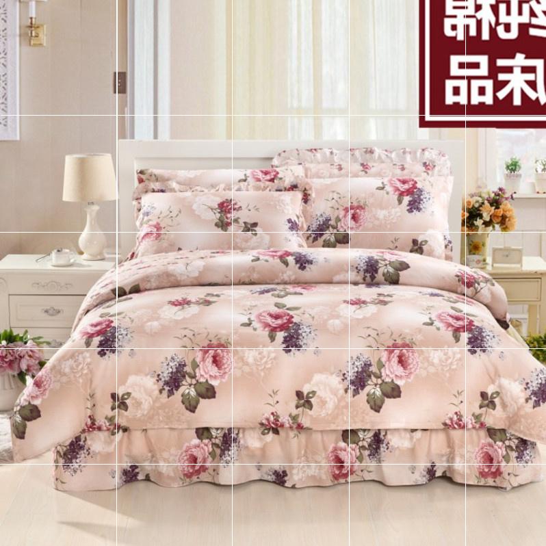 。棉带花边罩式四件套1.8 /床裙