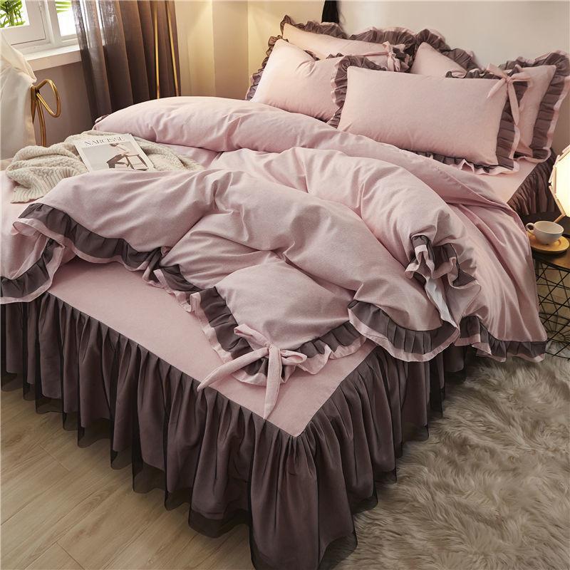 韩版小清新四件套公主风蕾丝花边床罩床裙式被套少女网红床上用品
