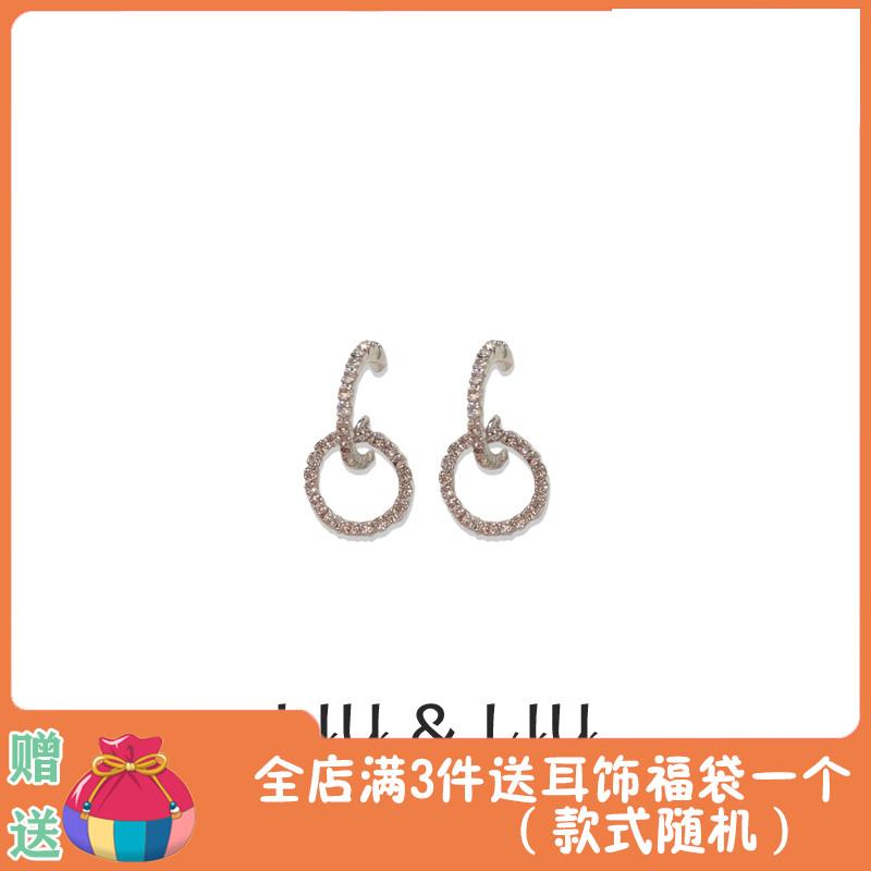 LIU LIU S925银针韩版简约时尚镶钻耳钉百搭日常优雅圆圈耳环女图片