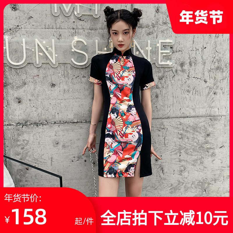 国潮旗袍短款2020年新款秋冬年轻款少女改良版中国风小个子连衣裙