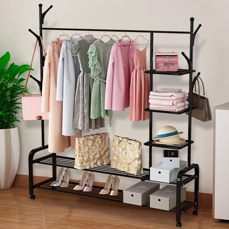 简易衣架落地卧室单杆式晾衣架折叠室内家用多功能凉晒挂衣服架子