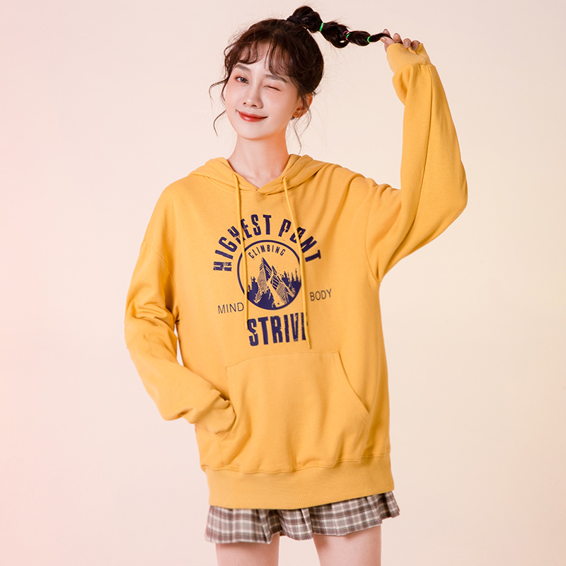 Hooded womens 2020 new loose Korean fashion autumn and winter leisure student letter printing medium and long blouse for women