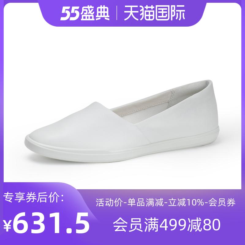ECCO爱步小白鞋女鞋 平底一脚蹬鞋女单鞋女 简约208603