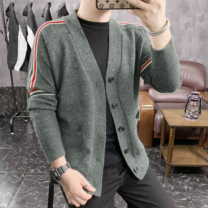 New knitted cardigan sweater jacket light mature style mens jacket European station mens sweater personality trend