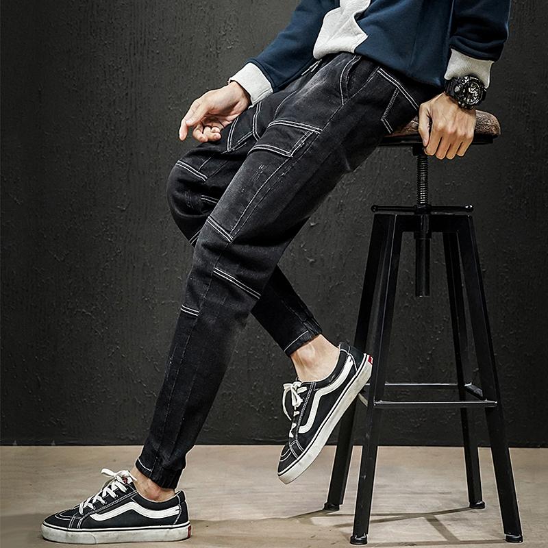 男士秋季新款牛仔裤男潮牌黑色韩版潮流百搭修身小脚长裤1913-P55