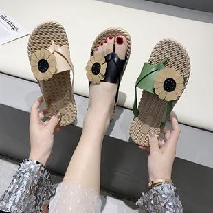 ins潮网红百搭时尚 女夏外穿2020新款 凉拖鞋 人字拖鞋 平底防滑韩版