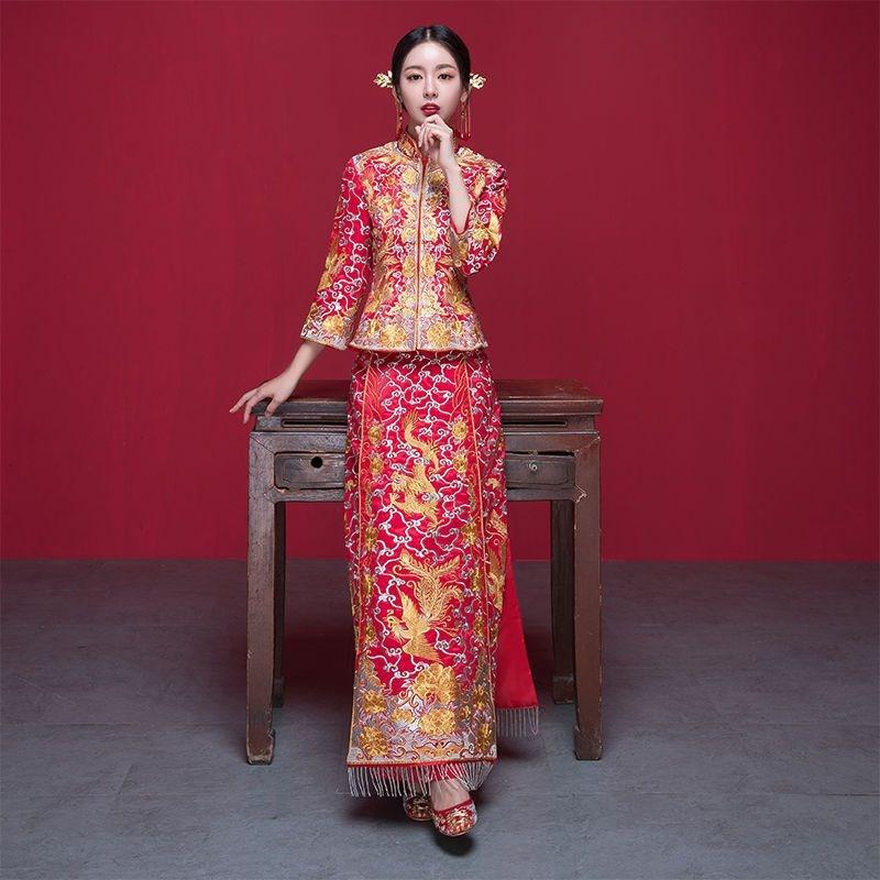 Xiuhe brides 2019 new Chinese wedding dress, wedding dress, ancient suit, slim dress, ancient show and Dragon Phoenix jacket
