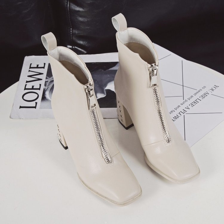 Thick heel Martin boots women British style spring and autumn 2019 new versatile white short boots high heels winter single boot children