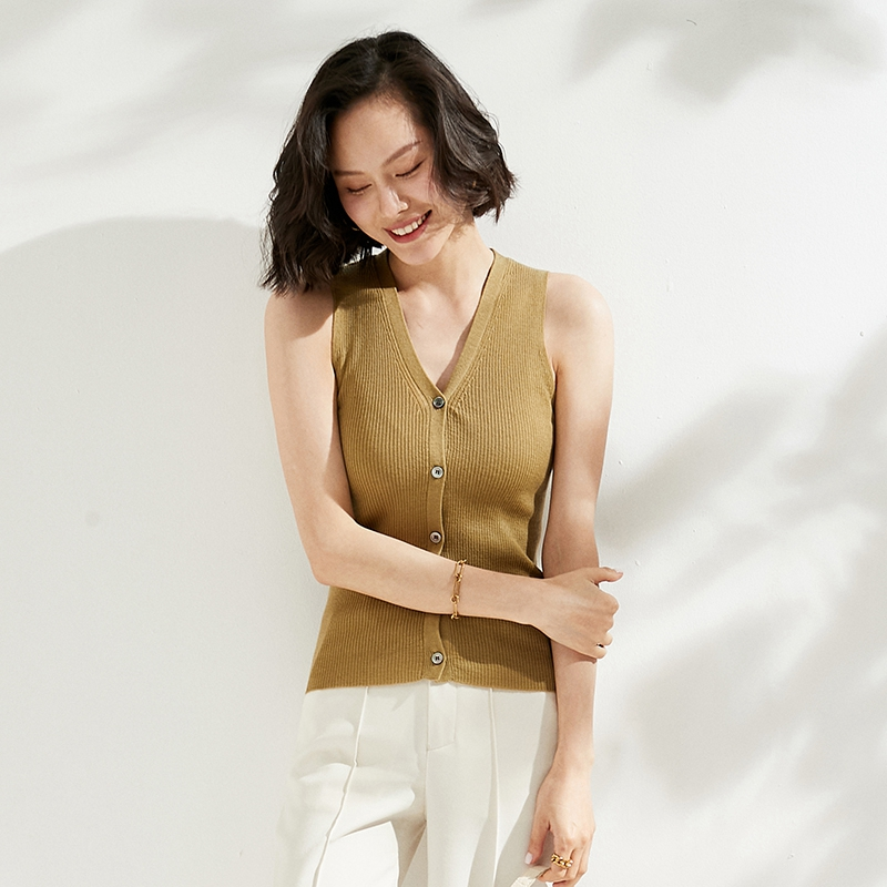 2021 spring and summer thin sleeveless pure wool cardigan V-neck vest vest short top womens tight knit shirt
