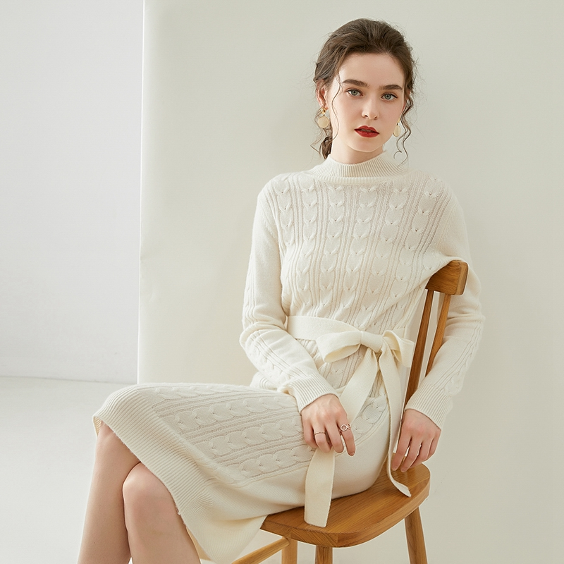 Autumn and winter new thickened half high collar medium and long pure wool sweater womens lace up wool dress fashion twisted knee length skirt