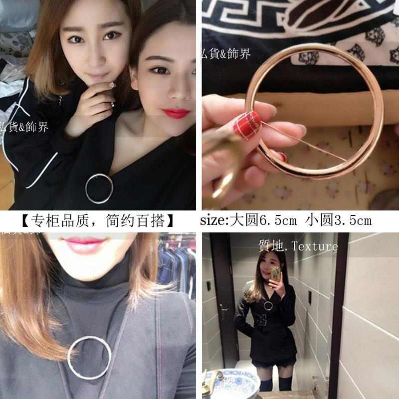 Japanese and Korean geometric hollow out large circle Brooch circular pin sweater cardigan button men and women Europe and America simple decorative buckle