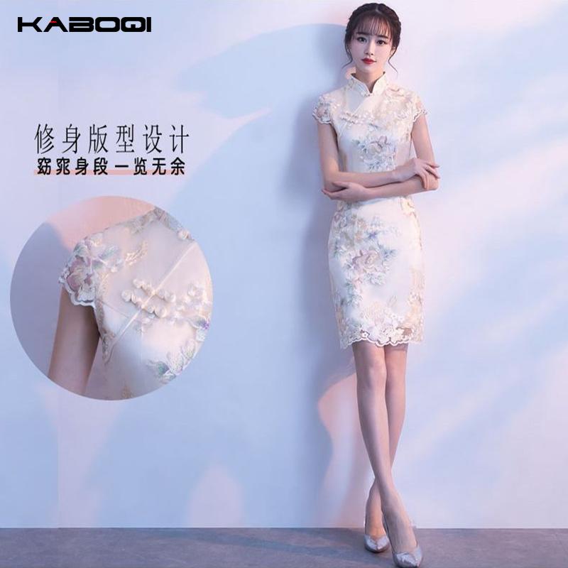 改良版少女旗袍2020新款短款修身日常蕾丝包臀连衣裙礼服端庄大气