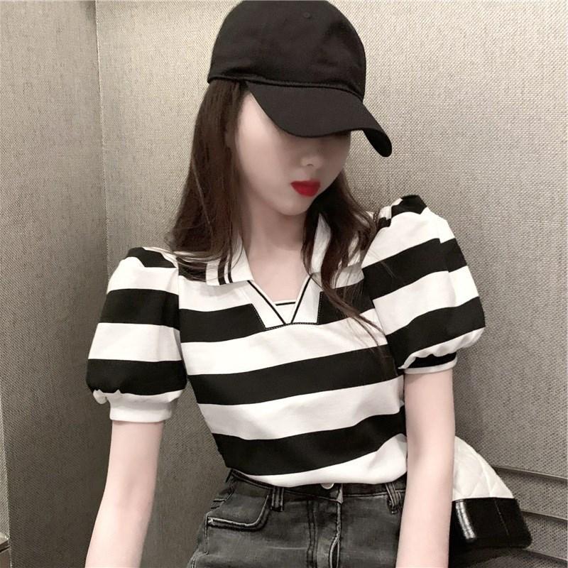 2021春夏新款条纹打底衫宽松显瘦泡泡袖POLO领上衣针织女短袖T恤