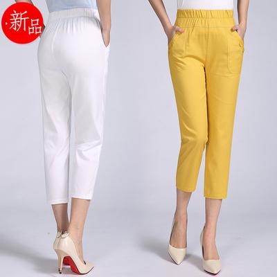 中年人中裤30-40岁50妇女装夏天7分裤夏季裤子妈妈八分裤短裤外穿