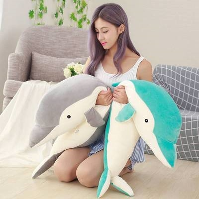 . Super soft cute dolphin plush toy soft prone prone pillow doll bed girl holding sleeping baby