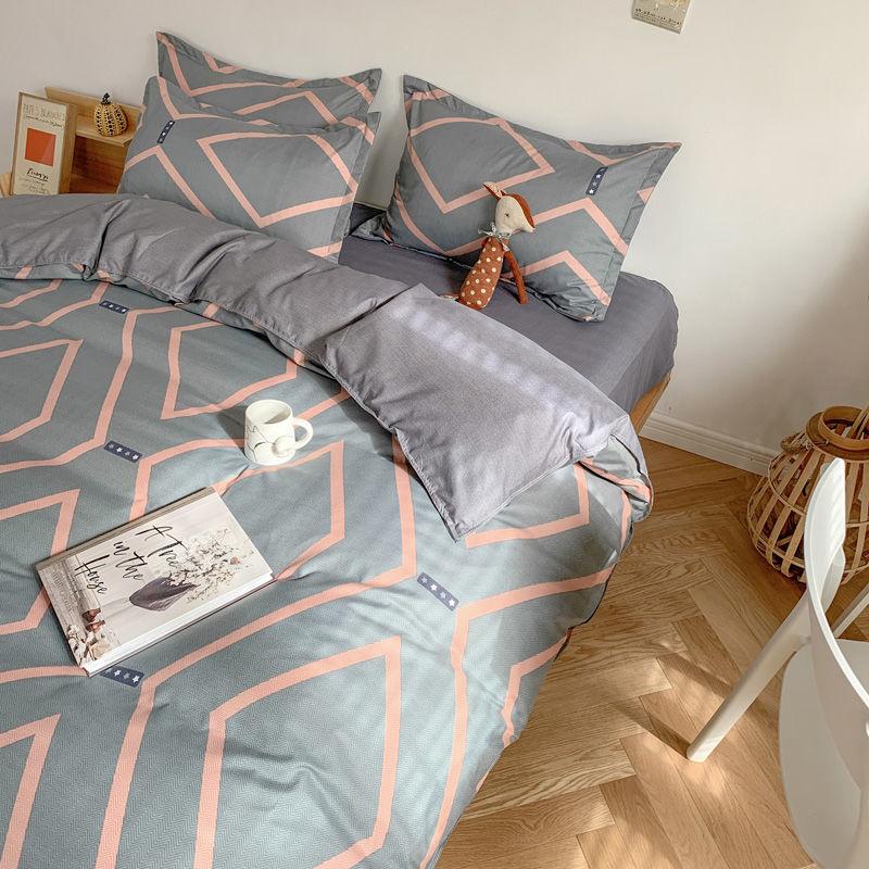 小清新草莓床单被套四件套床上用品学生宿舍单人床三件套四季通用