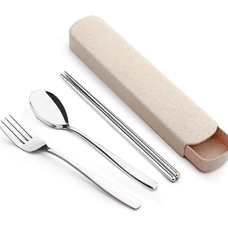 10-10新券快子套盒爱不锈钢便携餐具套装筷子便携三件套叉子勺子筷子盒学生