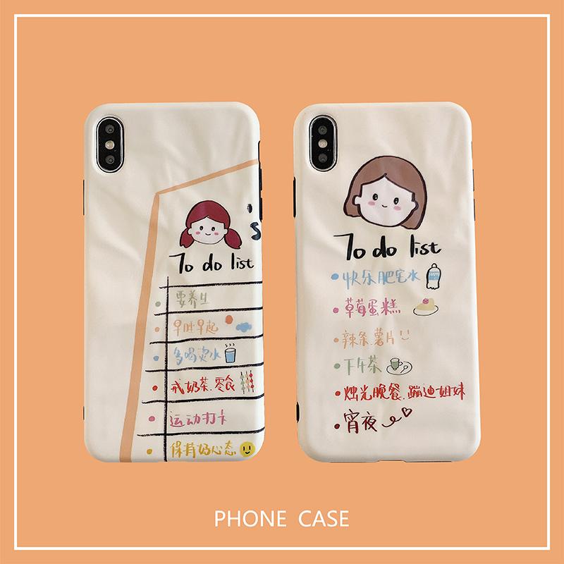 卡通女孩计划苹果x手机壳iPhonexr褶皱xr情侣款XS MAX软壳8plus
