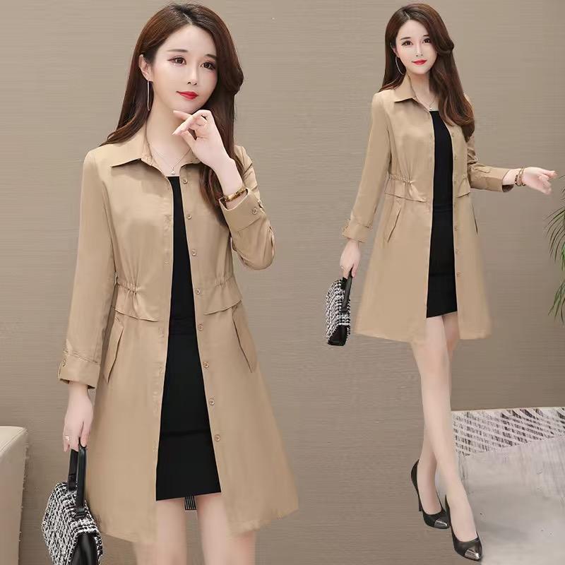 风衣女中长款新款POLO领纯色韩版修身收腰大码显瘦外套有/无里布