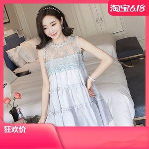 。百褶背心裙中长款韩版大摆大码时尚新款无袖蕾丝拼接雪纺连衣裙