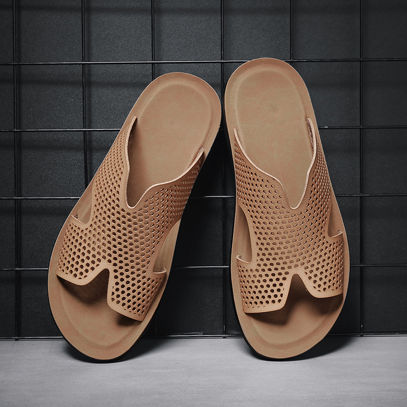 2020 new summer trend flip flop mens casual personality anti slip breathable slippers wear fashionable leather sandals
