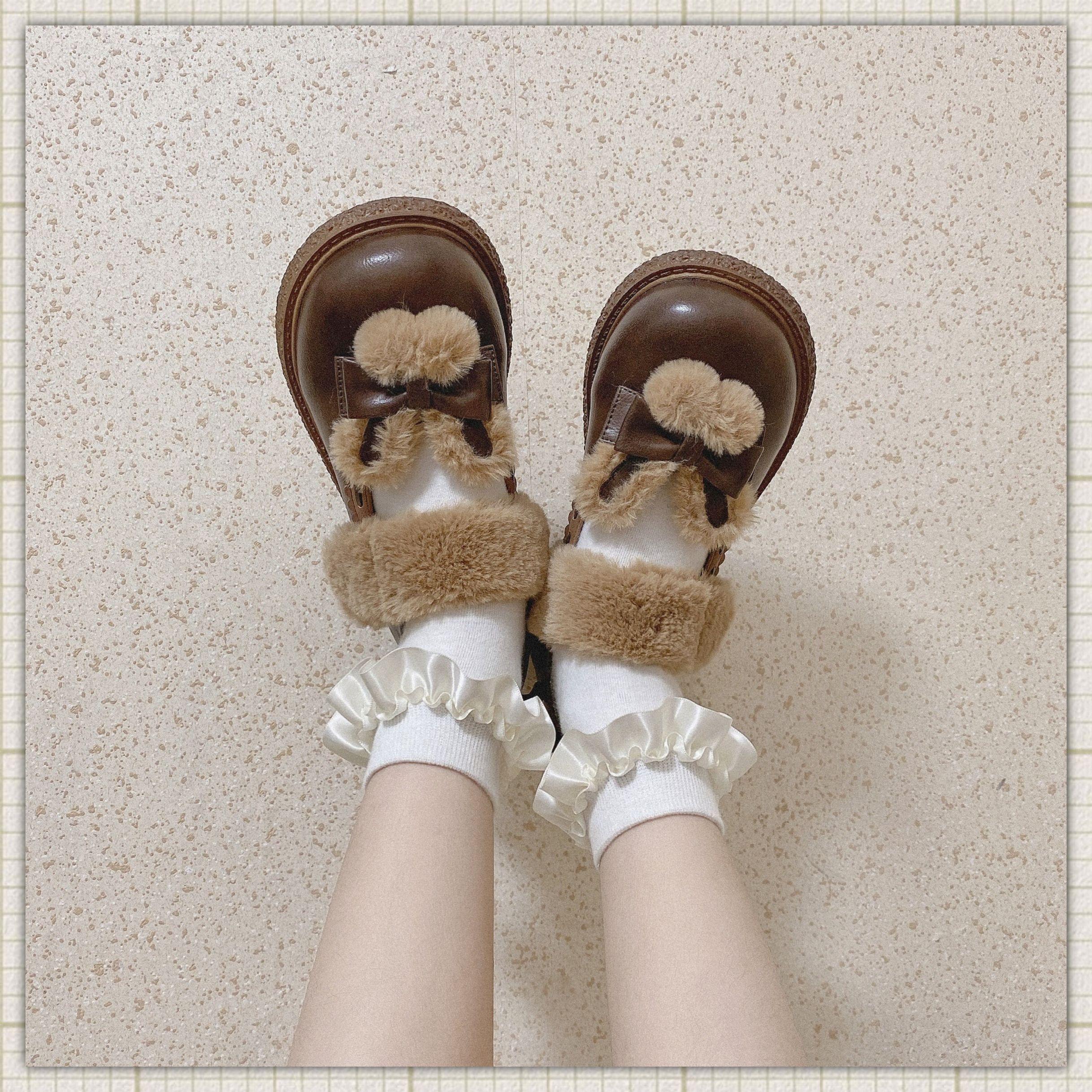 GURURU 绒绒奶兔 原创冬季大头娃娃鞋兔耳可爱毛绒圆头皮鞋