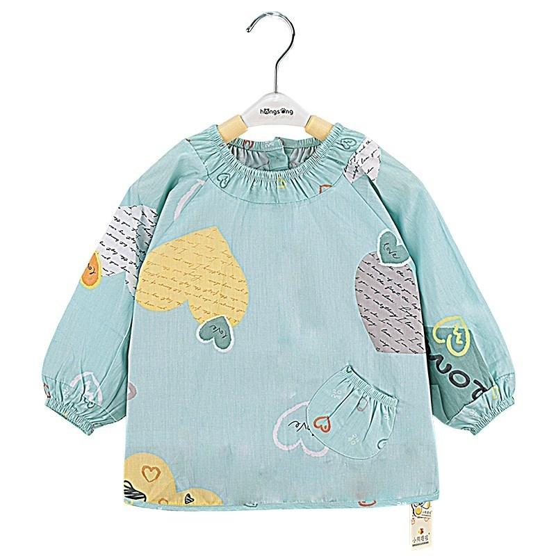 宝宝罩衣婴幼儿吃饭衣防水儿童反穿衣春秋薄款围裙长袖防护衣纯棉