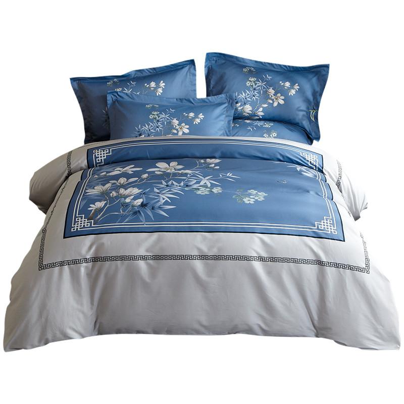 全棉纯棉裸睡神器柔软家纺新中式四件套亲肤床单被罩床上用品