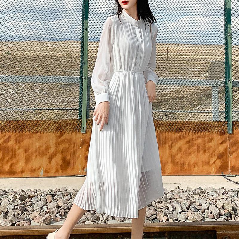 长袖雪纺连衣裙女春秋衬衫百褶智熏裙内搭韩版中长款度假白色长裙热销18件包邮