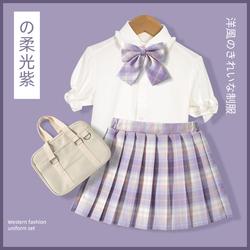 雅鹿女童百褶裙套装大童小学生夏季泡泡袖jk制服裙儿童学院风裙子
