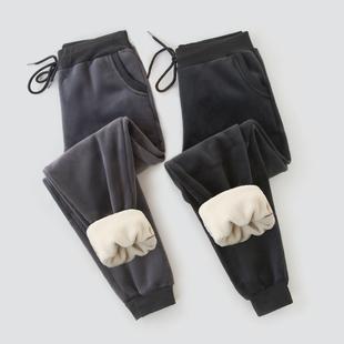女休闲宽松学生外穿哈伦裤 子女秋冬加绒加厚羊羔绒运动裤 金丝绒裤